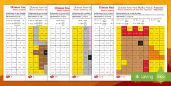 Chinese New Year Animals Multiplication Mosaics Activity English/Romanian - Chinese New Year KS1. KS2, EYFS, Celebration, festivals, rooster, multiply, times, multiplication, m