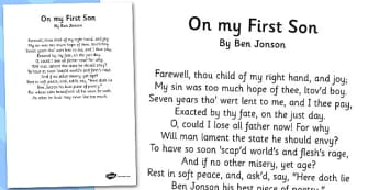 On My First Son' Ben Jonson Poem Sheet -  KS2, KS3, Poetry