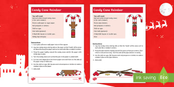 Candy Cane Reindeer Craft Instructions - christmas xmas, Santa, gifts, homemade, family, parents