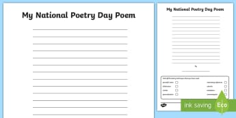 LKS2 My National Poetry Day Poem Worksheet / Activity Sheet - writing poetry, writing a poem, imagery, freedom, my freedom, Creative, Independent