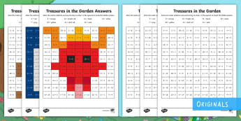 Treasures in the Garden Addition Maths Mosaic Worksheet / Activity Sheets - add, plus, total, altogether, colour, worksheets