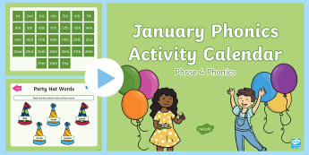 Phase 4 January Phonics Activity Calendar PowerPoint - Reading, Spelling, Game, Starter, Sounds
