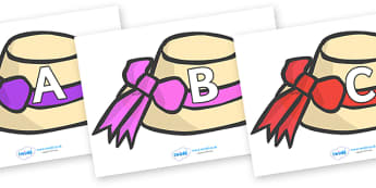 A-Z Alphabet on Summer Hats - A-Z, A4, display, Alphabet frieze, Display letters, Letter posters, A-Z letters, Alphabet flashcards