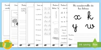 Cuadernillo de lecto: La X, K, Y W - lecto, leer, lectura, sonidos, letra , lecto-escritura, letra ch, ch, la ch,Spanish