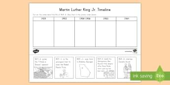 Martin Luther King Jr. Timeline Activity Sheet - Civil Rights, Montgomery Bus Boycott, Nobel Peace Prize, worksheet, Georgia, Coretta Scott, MLK Jr.,
