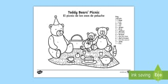 Teddy Bears' Picnic Colour by Number English/Spanish - game, colouring, EAL, translation, fine motor skills,