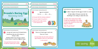 Brenda's Boring Egg Year 2 Reasoning Differentiated Challenge Cards - Twinkl originals, fiction, ugly duckling, KS1, Problem solving, maths, calculating, Mental maths