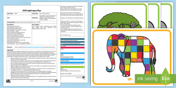 EYFS Elmer's Phonics Game Adult Input Plan and Resource Pack - EYFS, Early Years planning, Elmer, elephant, David McKee, colour, Letters and Sounds, phonics, lette
