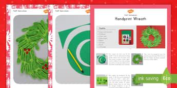 Handprint Christmas Wreath Craft Instructions - handprint, Christmas, wreath, craft