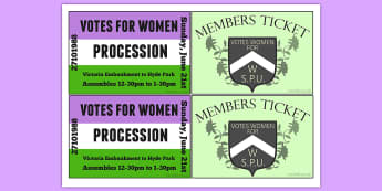 Suffragettes Procession Ticket - womens rights, emiline pankhurst