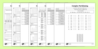 3-Digit Number Complex Partitioning Differentiated Activity Sheets - KS1, KS2, tens, ones, Hundreds, Partitioning in different ways, worksheets, worksheet