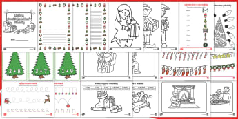 Pecyn Adnoddau Gweithgareddau Nadolig i'w Llungopio - nadolig, ndolig, christmas, lliwio, colouring, cyfri, counting, adio, addition, tynnu, subtracting, darllen, reading