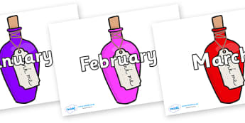 Months of the Year on Drink Me Bottles - Months of the Year, Months poster, Months display, display, poster, frieze, Months, month, January, February, March, April, May, June, July, August, September