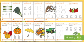 Autumn and Harvest Themed A-Z Pencil Control Activity Sheets English/Romanian - autumn, harvest, pencil control, EAL, letters