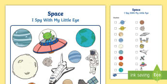 Space Themed I Spy With My Little Eye Activity - space, I spy