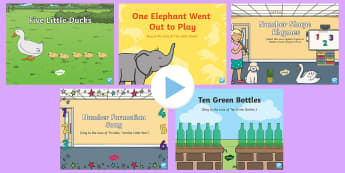 Number Recognition Songs and Rhymes PowerPoints Pack - maths, numeracy, numbers, 1-10, 0-9, numerals, singng, song time
