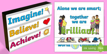 Motivational Quotes Light Box Inserts - light box, message, light, box, motivational, quote, motivate, inspire, children, classroom, meaning