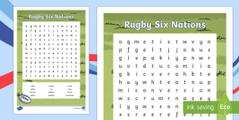 Rugby Six Nations Word Search - KS1 & KS2 Rugby Six Nations, rugby, six nations, five nations, rugby