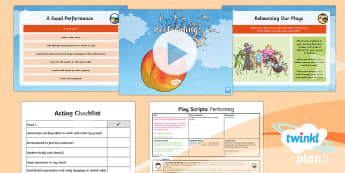 PlanIt Y4 Explorers: James and the Giant Peach Lesson Pack Play Scripts 6 - Explorers: James and the Giant Peach, Roald Dahl, Play Script, scene, colon, stage directions, brack