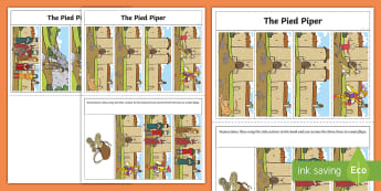 The Pied Piper Story Writing Flap Book - flap book, pied, piper