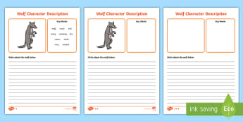 Wolf Character Description Differentiated Writing Frames - wolf, little red riding hood, traditional tails, adjectives, describing, character profile