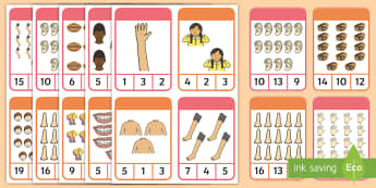 Body Part Peg Counting 1-20 Number Cards - EYLF, Numeracy, maths, subitising, number recognition, number concept, fine motor, early years, kind