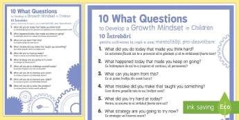 10 What Questions to Develop Growth Mindset in Children Display Poster - English/Romanian - 10 WHAT Questions to Develop Growth Mindset in Children - PSHE, psychology, EAL