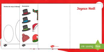 Cartes de Noël : Crées ton propre bonhomme de neige - fête, hiver, carte, travaux manuels, cycle 1, cycle 2,French
