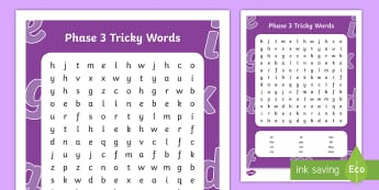 Phase 3 Tricky Words Word Search