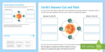 Earth's Seasons Cut and Stick Activity Sheet - Cut and Stick, earth, earth's seasons, worksheet, seasons, summer, winter, autumn, spring, axis, ea