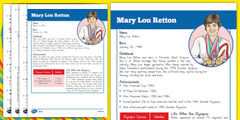 USA Olympians Fact Sheet and Comprehension Questions Mary Lou Retton - Reading comprehension, olympics
