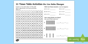 11 Times Table Activity Sheet - English / German - Englisch / Deutsche-German-translation - EAL, German, 11 Times Table Activity Sheet - eleven times table, maths, mathematics, multiplication,