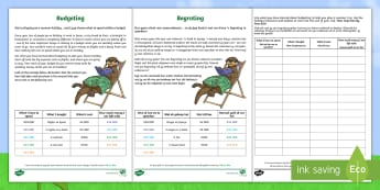 Budgeting for a Summer Holiday Money Activity English/Afrikaans - seasons, math, numeracy, numbers, subtract, seisoene, EAL,Scottish
