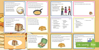 LKS2 Pancake Day What If? Maths Challenge Cards - Y3, Y4, Fractions, Reasoning, Fluency, Measurement