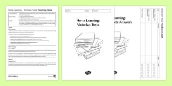 Victorian Texts Homework Booklet  - 19th, pre-twentieth, pack, book, term, GCSE preparation, higher ability, skills, language, structure