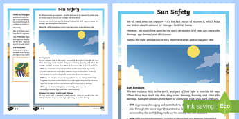 Sun Safety Differentiated Reading Comprehension Activity