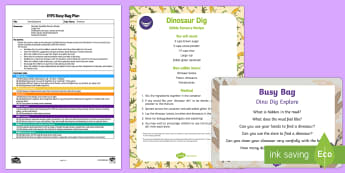 EYFS Dino Dig Explore Busy Bag Plan and Resource Pack - Dinosaurs, sensory, edible, exploration, messy play