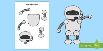 Split Pin Robot - - split, pin, robot, cutting, fine motor, robots, fantasy, craft, puppet, puppet, moving