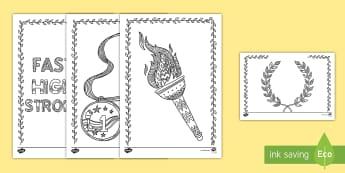 Olympics Mindfulness Coloring Worksheet / Activity Sheets - coloring, Olympics, mindfulness, creativity, art, worksheets