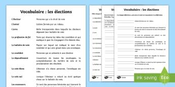 Fiche de vocabulaire : les élections - élection, elections, vocabulaire, vocabulary, cycle 3, KS2, CE2, CM1, CM2, candidat, candidates, vo