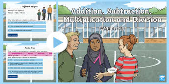 Year 6 Addition Subtraction Multiplication and Division Maths Warm-Up PowerPoint - KS2 Maths warm up powerpoints, warm up, warm-up, warmup, starter, mental starters, Y6, maths, curric