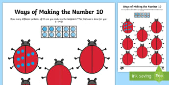 Ways of making 10 Activity Sheet - worksheet, number bonds, ladybugs, ladybirds, pairs, ten, counting