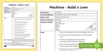 Build a Lever Science Experiment - Friction, Motion, Heat, Energy, Investigation Experiment, machines, lever, build