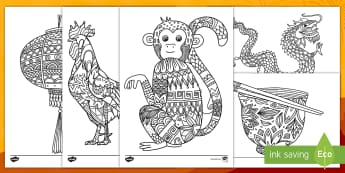 Chinese New Year Mindfulness Colouring Pages English/Mandarin Chinese - Chinese New Year Mindfulness Colouring Sheets - chinese new year, mindfulness, colouring, colour, st