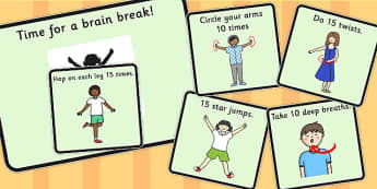 Time For a Brain Break - brain, break, time, activities, move
