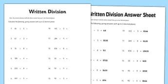 Year 6 Written Division 2 Decimal Places Activity Sheet - year 6, written division, decimal, places, worksheet