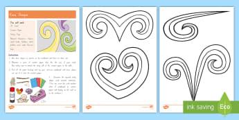 Koru Designs Craft Instructions - craft, natural resources, Vocabulary, Design, Display, NZ,Aotearoa