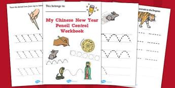 Chinese New Year Themed Line Handwriting Worksheets - handwriting