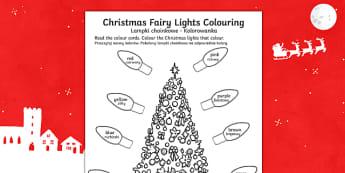 Christmas Fairy Lights Colouring Sheet Polish Translation-Polish-translation - Christmas Fairy Lights Colouring Sheet - christmas, colouring, christmas colourig, colering, chritma