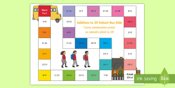 Addition within 20 Bus Board Game English/Romanian - Addition Board Game - add, adding, games, maths, numeracy, +, adition, numracy, additon, EAL